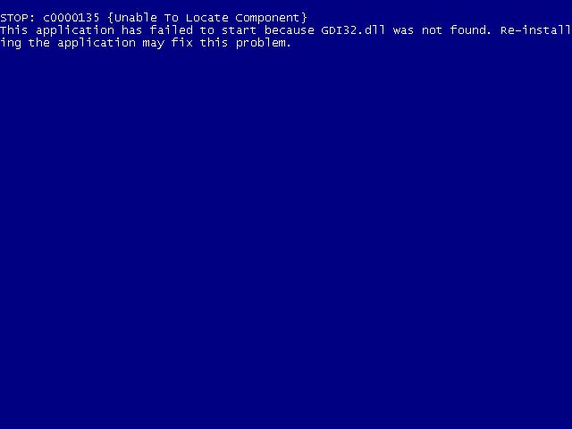 Windows XP, Vista, 7 GDI32 dll not found error screen