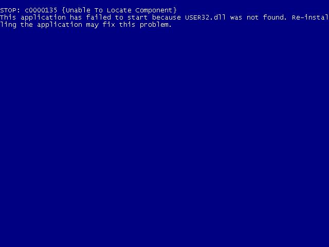 Windows XP, Vista, 7 USER32 dll not found error screen