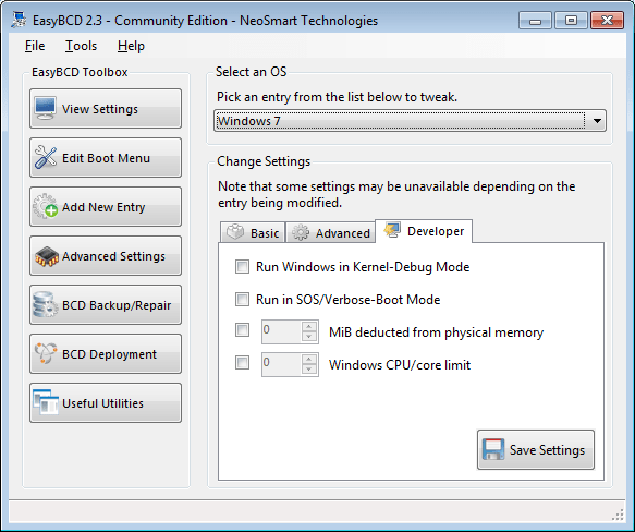 EasyBCD advanced settings screen - developer tab