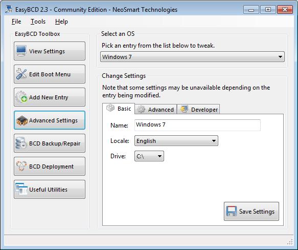 EasyBCD advanced settings screen - basic tab