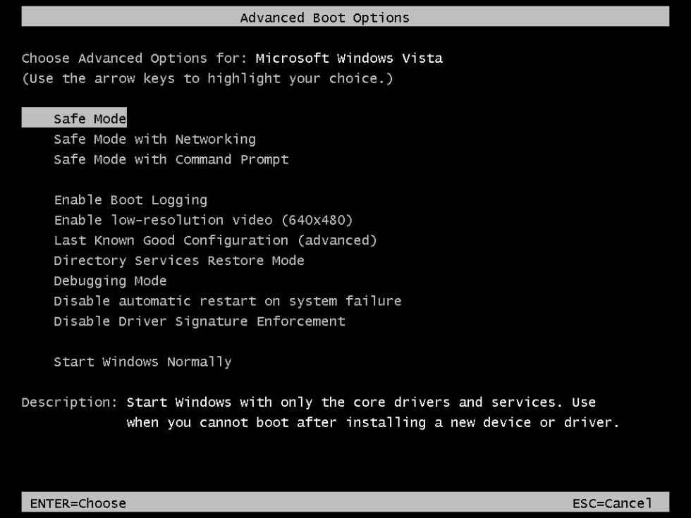 The Advanced Boot Options screen in Windows Vista