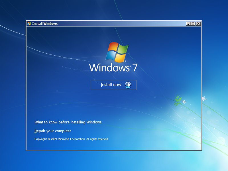 Windows 7 setup Install Now dialog, with repair your computer link