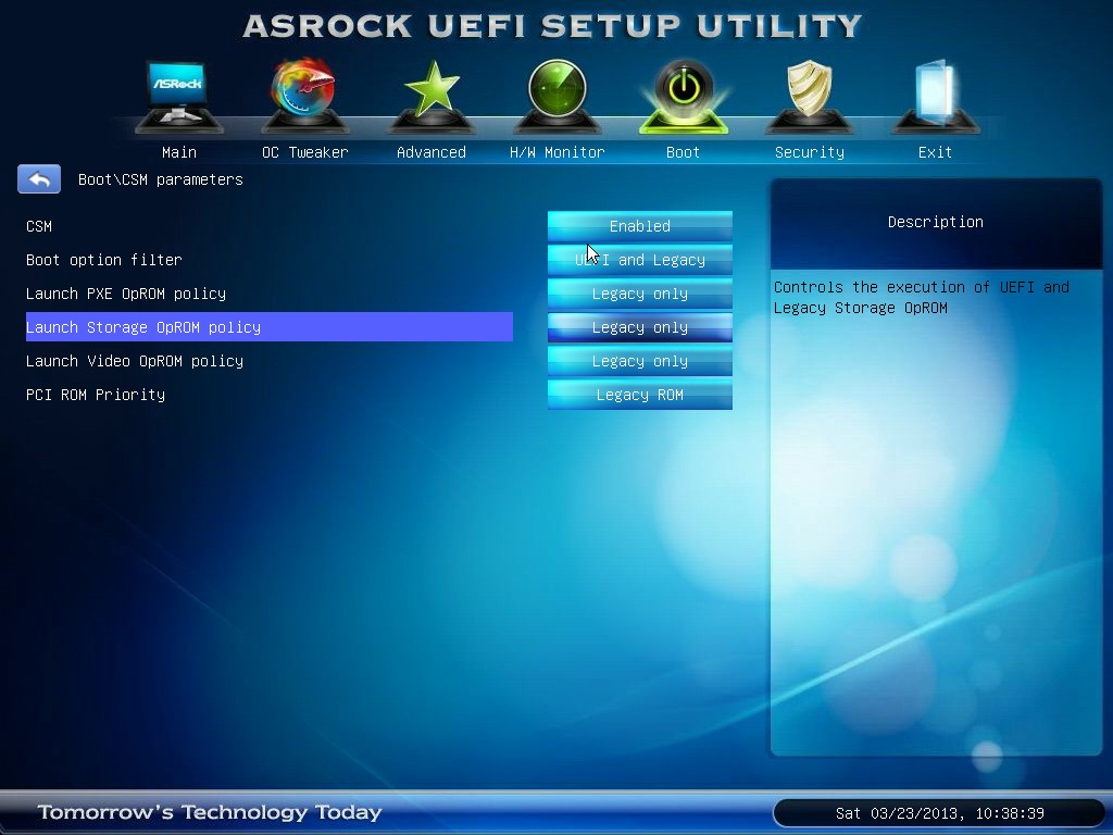 Disable Legacy Boot Mode and Enable UEFI
