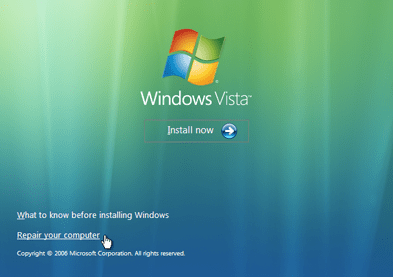 Windows Vista Repair Your Computer Menu