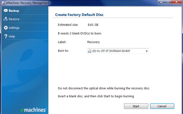 emachines recovery disk guide