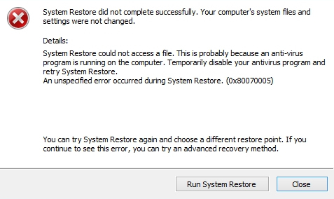 System Restore did not complete successfully – Fix for Windows 7