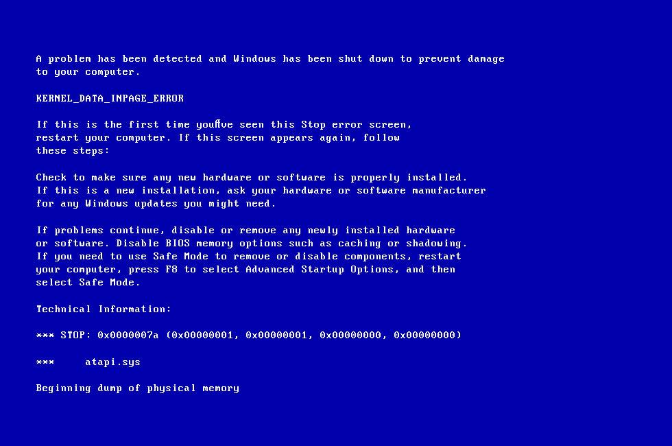 0x0000007a (KERNEL DATA INPAGE ERROR): Fix for Windows ...