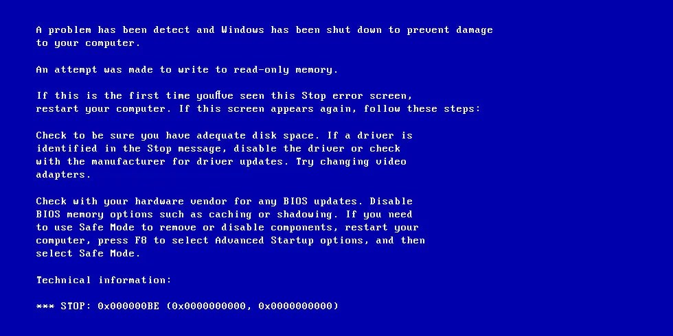 Screenshot of 0x000000BE error