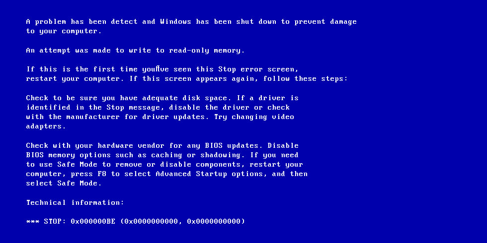 0x000000BE (ATTEMPTED WRITE TO READONLY MEMORY) – Fix for Windows