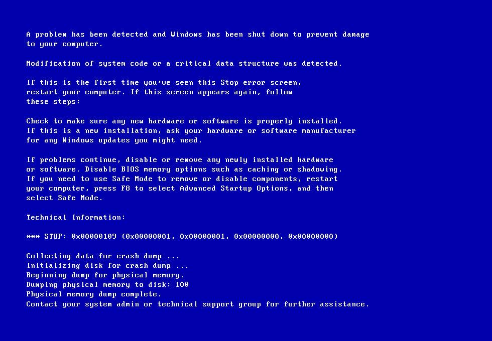 Screenshot of 0x00000109 error