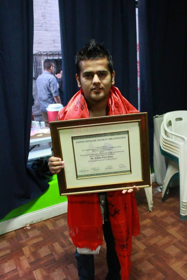 Honored by United Nepalese Student Organization (UNSO) in USA