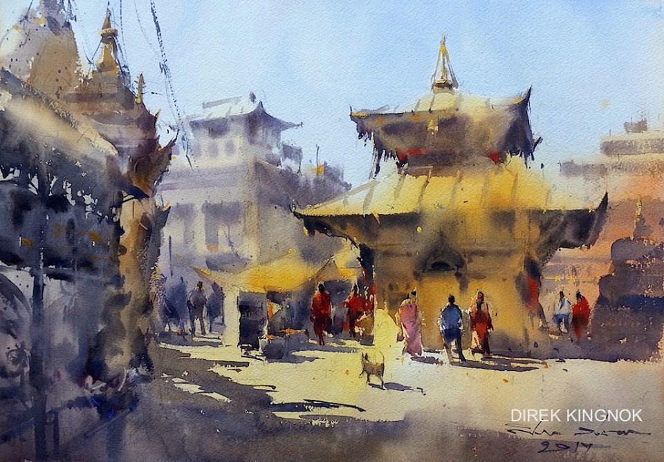 thai watercolor artist paints mind