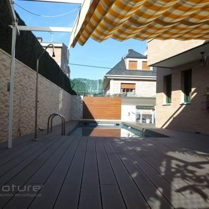 Tarima sintetica exterior terraza jardin