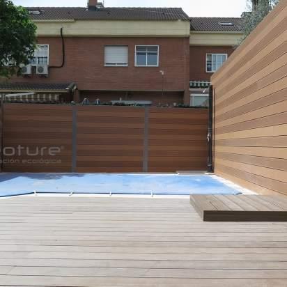 Vallado exterior madera sintética color wood.