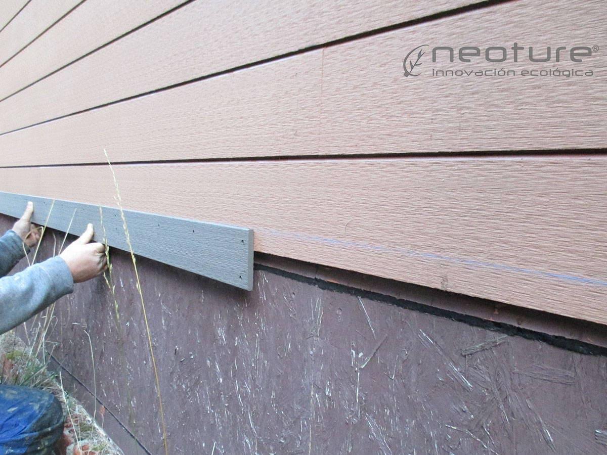 Tapa embellecedora revestimiento madera exterior sintetica.