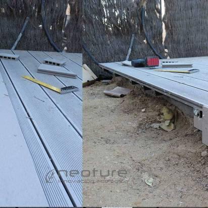 instalación de tarima con tapas de terminación tarimas exterior.
