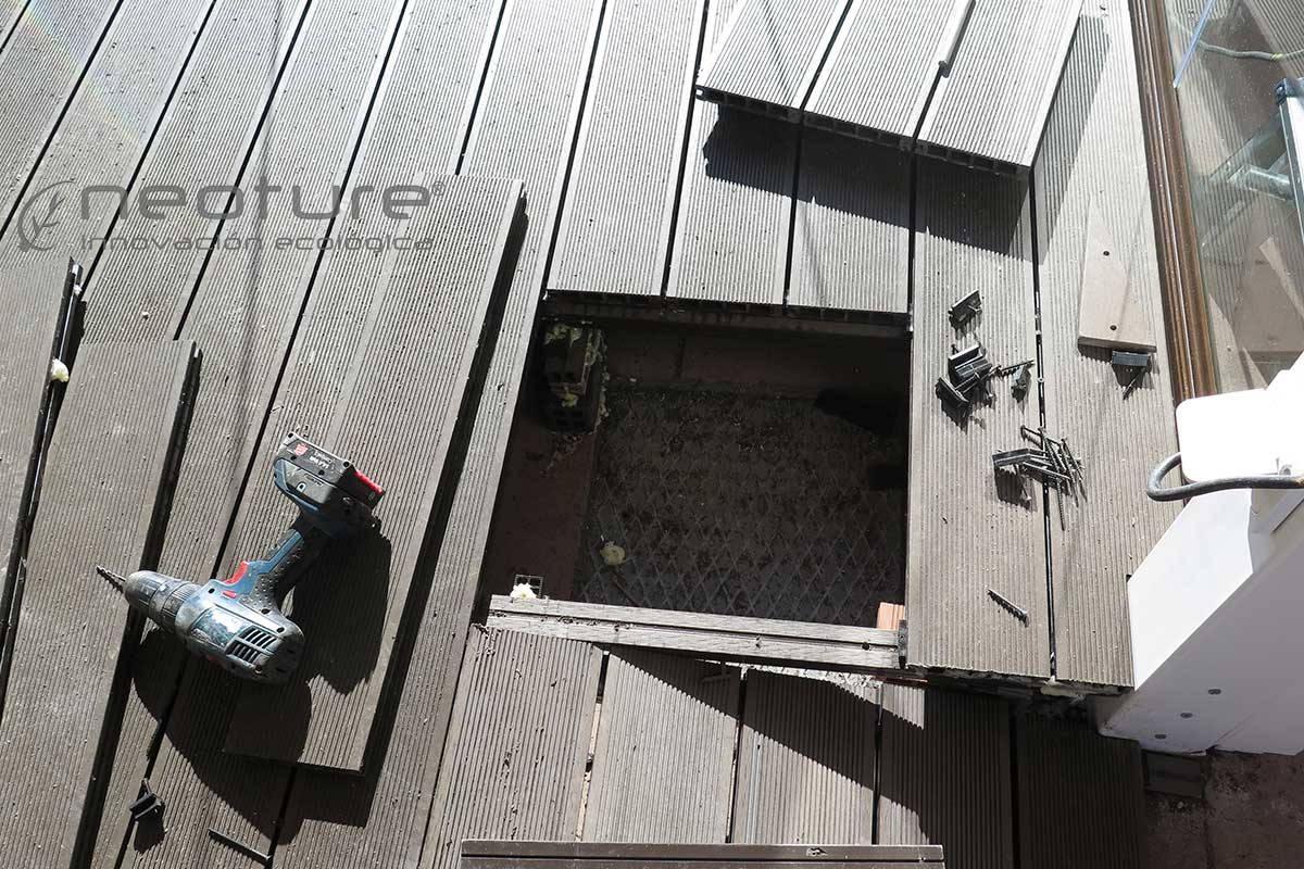 tapa registro a sumidero en tarima exterior sintetica
