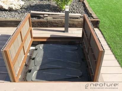 Estructura revestida con madera composite para exterior