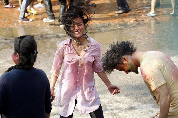 Namrata Shrestha Celebrating holi 2013 7