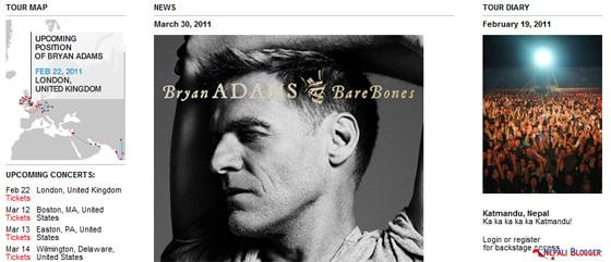 Bryan Adams Website Tour Map
