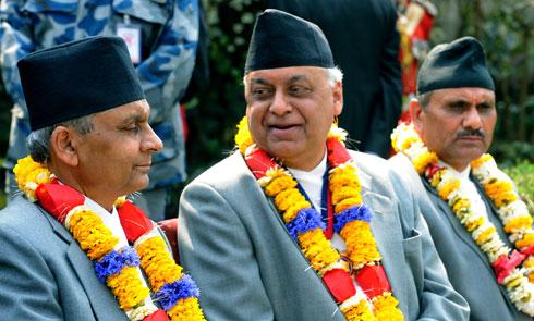 Khil Raj Regmi and Ministers Madhav Prasad Ghimire and Hari Prasad Neupane