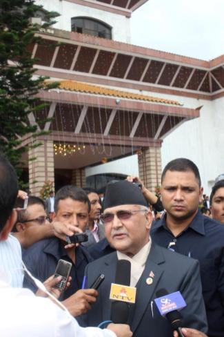 Kp Sharma Oli Speaking to Media