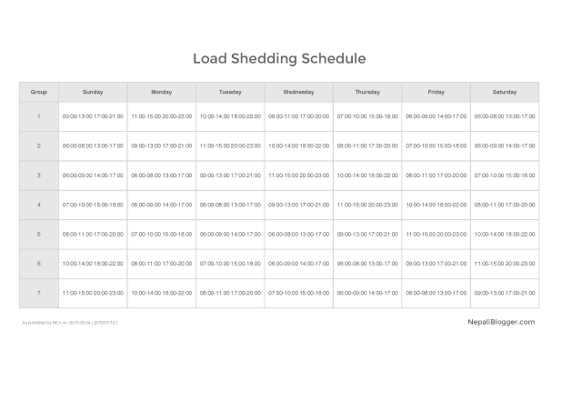 Load Shedding Schedule 2015-05-04 ( 2072-01-12 ) Nepali Blogger