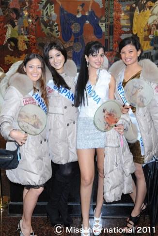 Sarina Maskey Visiting farm villege Miss International 2011