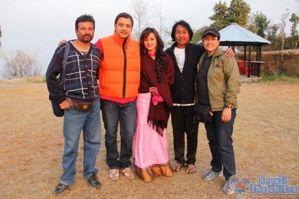 Namrata Shrestha with director samjhana upreti rauniar (R) n choreographer kamal rai (2nd from R)