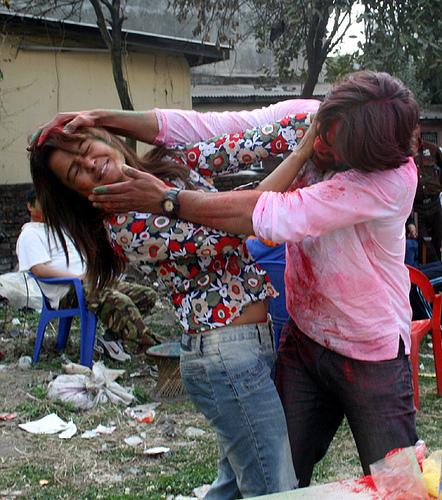 Rekha Thapa Playing holi 2
