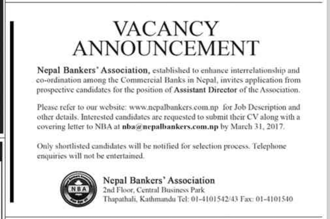 Commercial Banker Cover Letter Assistant Director Wanted In Nepal Banker S Association Job