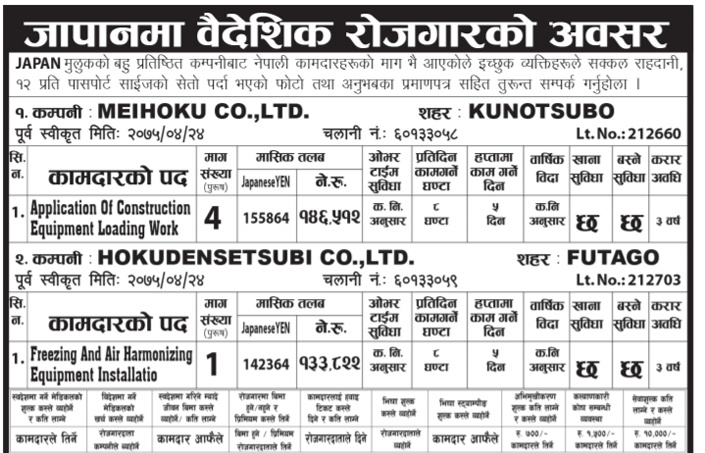 Japan Job Demand For Nepali Citizens – Job Finder In Nepal