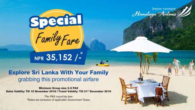 Himalaya Airlines' offers special family airfare to Colombo.