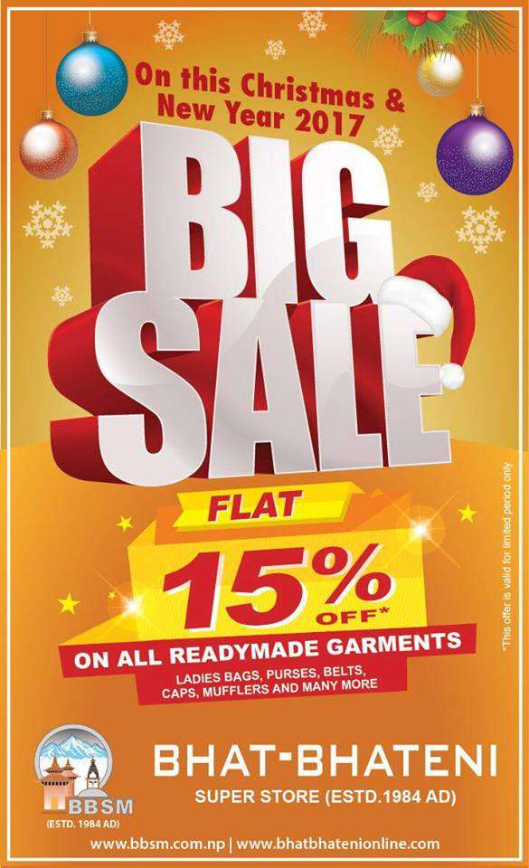 Flat 15% discount on fashion garments at Bhat-Bhateni supermarket