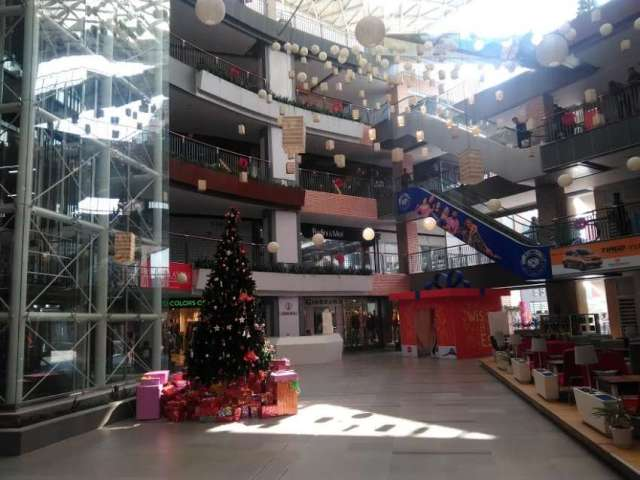 Christmas decoration at Labim Mall, Lalitpur.