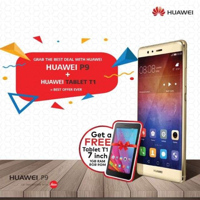 Buy a Huawei P9 and get a Tablet T1 free