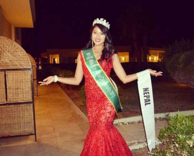 April 15, 2017: Ronali Amatya has won the title of Miss Congeniality in Miss Eco International 2017 held in Egypt.