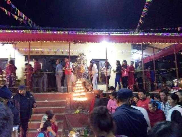 People worshiping goddess Bajrajogini in occasion of Bajrayogini jatra at Sankhu.