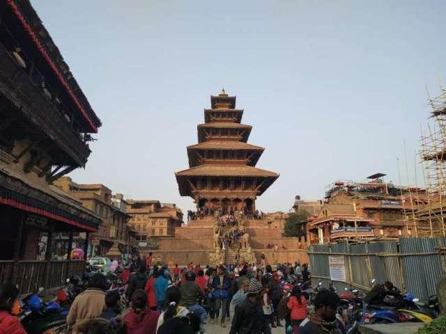 Pagoda Style Nyatapola Temple located in Bhaktapur, Nepal.