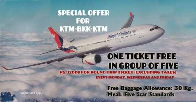 Nepal Airlines Corporation (NAC)'s promotional offer in Kathmandu-Bangkok-Kathmandu route.