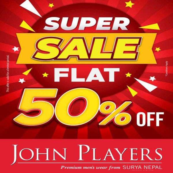 John Players Super Sale offers 50 percent Discount