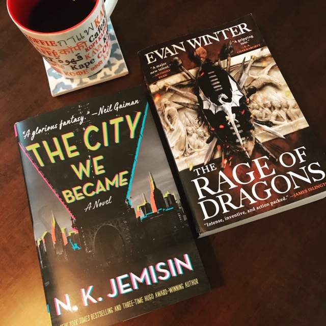 Books: The City We Became by N.K. Jemisin and Rage of Dragons by Evan Winter
