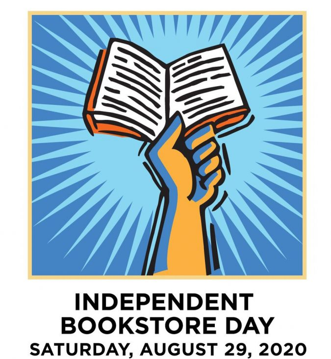 Independent Bookstore Day logo of a hand holding an open book.