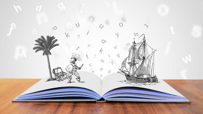An open book with a 3D, black-and-white sketch of a pirate, treasure beneath a palm tree, and a pirate ship.