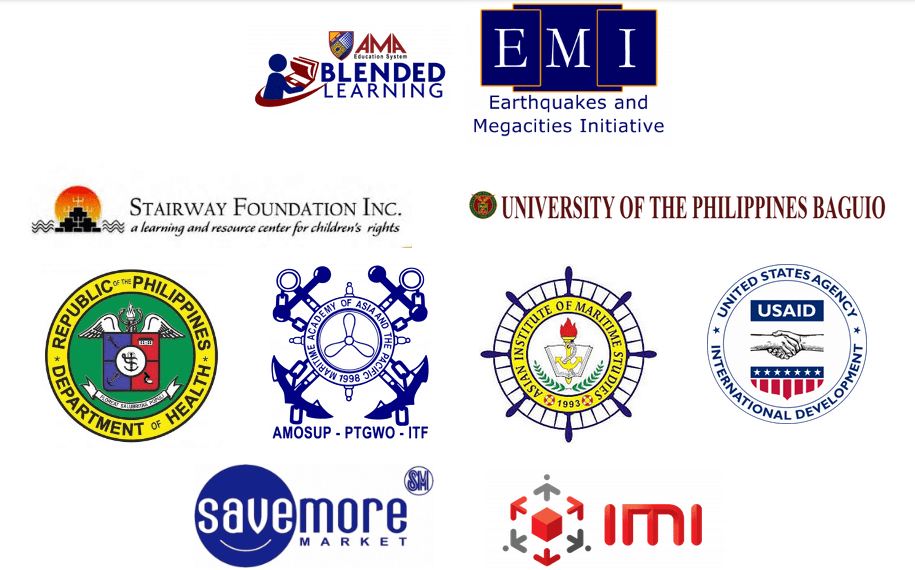 LMS Clients logo. AMA Blended Learning, Earthquakes and Megacities Initiative, Stairway Foundation Inc., University of the Philippines Baguio, DOH, Maritime Academy of Asia and the Pacific, Asian Institute of Maritime Studies, United States Agency International Development, SM Savemore Market, IMI.