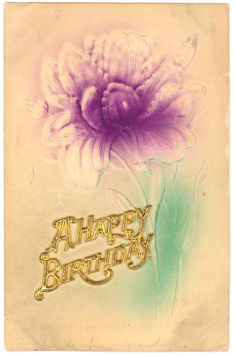 BIRTHDAY A Happy Birthday Purple Flower
