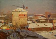 2 - Dmitry Tegin, Maslovka. Oil, cardboard. 34x50. 1950ies. Socialist realism. Picture taken from here: http://sovjiv.ru/picture/43/