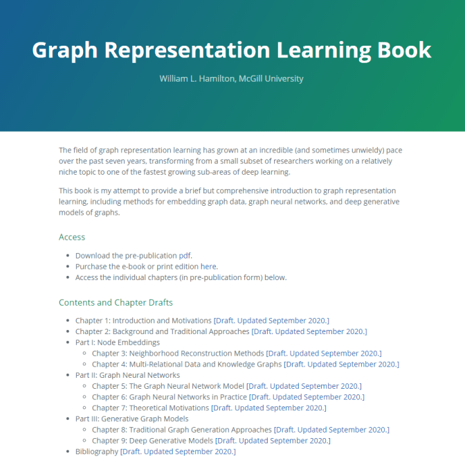 Graph Representation Learning Book - GNN resources