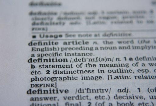The image shows a page full of definitions from the dictionary.