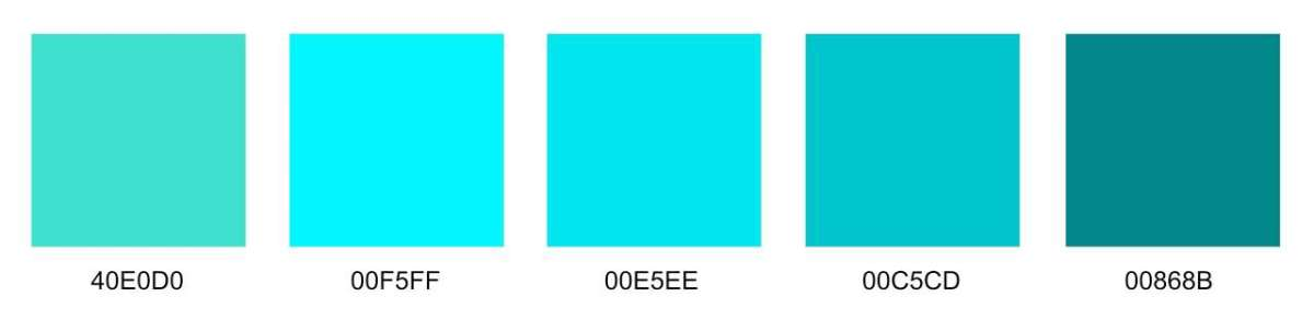 Different Shades of Turquoise Color with Codes